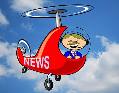 Travel news helicopter cartoon